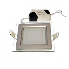 Panel LED podtynkowy  6W kwadrat szklany