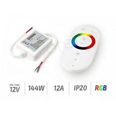 sterownik radiowy do taśm RGB z pilotem w kolorze białym